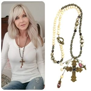 Kinley SS and Bronze Pearl Cross Necklace